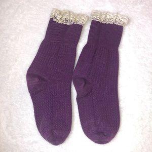 Free People Purple Lace Trim Socks